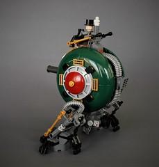 Ankan VII - Tesla series walker (adde51) Tags: adde51 lego moc steampunk walker mech mecha cannon green tesla ruinsofsanvictoria ruins san victoria robot gold ankan vii