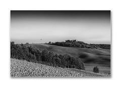 the balloon (Karl-Heinz Bitter) Tags: tuscany toskana italien italy landscape landschaft monochrom monochrome autumn field trees house bauernhof acker karlheinzbitter fineart blackwhite blackandwhite