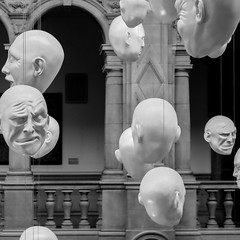 Floating Heads (John fae Fife) Tags: fujifilmx noiretblanc xe2 scotland monochrome headstone kelvingrove blackandwhite floatingheads bw nb kelvingrovemuseum glasgow