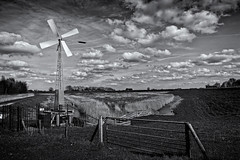 Windmill (Alfred Grupstra) Tags: blackandwhite nature ruralscene turbine landscape farm windturbine wind sky field nopeople grass environment outdoors cloudsky meadow nonurbanscene agriculture windmill oldfashioned