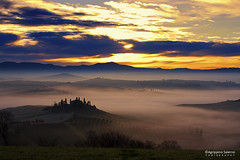 A beautiful place (Agrippino Salerno) Tags: valdorcia tuscany italy agrippinosalerno canon manfrotto poderebelvedere sanquiricodorcia hills mist clouds sunrise dawn farmhouse cypress beautiful sun