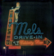 Mel's Drive-In 4 (tobysx70) Tags: polaroid sx70 timezero artistic tz atz film expired 0909 the impossible project tip mels drivein highland avenue hollywood los angeles la california ca neon sign night nocturnal lit illuminated waitress ice cream sundae cocktails celebrity bar eat color colour digitally manipulated toby hancock photography