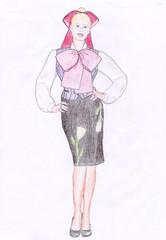Beautiful bow outfit edited (VeronArmon) Tags: bow blouse tie shirt waistcoat silk satin high heels legs model fashion long lady blonde secretary stewardess office strict formal cute sailor moon