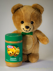 Krafty Bear (HTBT) (13skies) Tags: happyteddybeartuesday kraft kraftpeanutbutter green htbt teddybeartuesday whoknew food eating display jar container yummy cute promotional