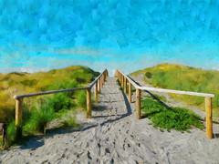 Walking Across the Dunes (Steve Taylor (Photography)) Tags: art digital blue brown green grey newzealand nz southisland canterbury christchurch dunes grass texture succulent railing bottlelake forest