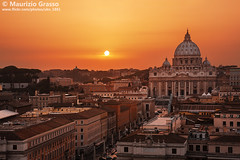 Sunset over Rome. (UKN_1861) Tags: copyspace cityscape famous colorful aerial italian majestic europe urban capital vatican beautiful cathedral peters rome sunset dusk landmark italy stpetersbasilica above church architecture city sun ancient twilight dome view