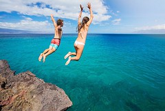 Jumping on a cliff (anoukgovil) Tags: active activity beach blue brave cliff couple daring dive extreme flight fly free freedom friends fun happy hawaii health high holiday joy joyful jump leap life lifestyle male man nature ocean outdoor people person play rock sea sky sport stone summer swim teenager travel tropical vacation water wild woman