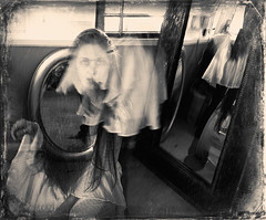 Dimensions (shawnstraughan13) Tags: nikond750 art photography photos selfportrait multipleexposures blackandwhite sepia francescawoodman movement motion girl indoors light dark creative conceptual digital