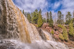 Gooseberry Falls (Doug Wallick) Tags: gooseberry falls north shore minnesota state park scenic flow april 2017 clouds evergreens water explored