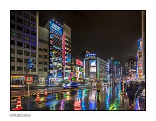Sidewalk reflections - rainy night in Tokyo