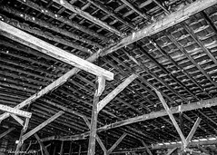 Abandoned Warehouse: The Ceiling (that_damn_duck) Tags: blackandwhite monochrome abandoned urbex urbanexplorer ceiling decaying warehouse structure building beams bw blackwhite