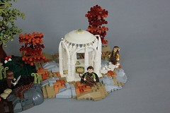 MELO R1: Farewell We Call to Hearth and Hall! (jsnyder002) Tags: lego castle moc creation build model lotr lordoftherings rivendell elves elvish elven hobbit hole house interior furniture fireplace design technique method floor pattern table chairs doorway round landscape path roof gazebo trees hobbits base dome