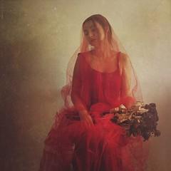 Blood wedding II (soleá) Tags: rojo mujer autorretrato retrató portraiture portraits portrait sadness wedding deadflowers redveil woman textures red fineart bloodwedding carmengonzález soleá redweddingdress