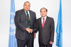 His Excellency Hon. Siaosi Sovaleni, Deputy Prime Minister of Tonga and Houlin Zhao, Secretary-General, ITU.