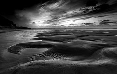 Curves in Sand (Mick Blakey) Tags: shoreline tranquil sand sunset cornish curves coastline seashore perransands blackwhite white coast black contrast tide monochrome solitary beach coastal sea deserted seascape dusk cornwall clouds walk