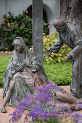 PEDB20170509-166.jpg (EricBier) Tags: path infrastructure gitzotripod implement category place nicodemus abbreviationforplace red female jesuschrist male brick color statue event cross photoouting mssnbsllcsndgdall sculpture artwork marymotherofjesus identified 20170509missionbasilicasandiegodealcala gender sandiego 92108 homosapien animalia architectural biological