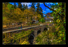 Walk with me Daddy (Kev Walker ¦ 7 Million Views..Thank You) Tags: architecture beautiful betwsycoed britishculture building canon1100d canon1855mm colorfull conway hdr historical northwales photoborder postprocessing bridge trees