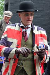 Tweed and Patriotism (Finding Chris) Tags: tweedrun london clerkenwell farringdon uk unionjacket patriotism bicycleride chrisbarbaraarps canon60d portrait bowlerhat