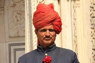 A Palace Guard in a Red Turban at the City Palace, Jaipur