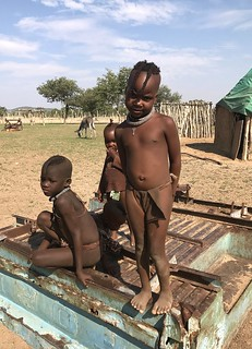 Himba children - in an Opuwo Kaokoland village, Namibia.
