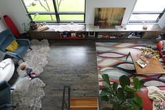 Living Room from Upstairs Balcony (Heath & the B.L.T. boys) Tags: livingroom rug bench art