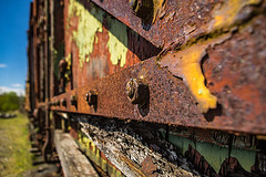 This Corrosion (Brian Travelling) Tags: corrosion corroding rust rusting rotting desolate abandoned peeling crumbling nuts bolts wooden train cattletruck truck carriage coal steamtrain steam engine dunaskin ironworks ayrshire scotland