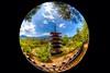 Chureito Pagoda (Matthias Harbers) Tags: chureitopagoda pagoda park mountain tree people arakurayamasengenpark yamanashiken fujiyoshidashi arakura japan sigma8mmf35exdg circularfisheye sigma 8mm f35 ex dg circular fisheye tonemapped hdr 3xp photomatix dxo photoshop elements nikon d750 summer clouds fuji