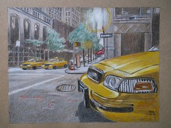 taxi jaune (klaxodessin) Tags: crayondecouleur crayon colouredpencil pencil voiture auto automobile taxi newyork ny jaune yellow ville town rue street dra dessin