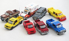 New A-pillars for my trucks (Mad physicist) Tags: lego car truck suv pickup american ford chevrolet f150 ambulance suburban dodge ram