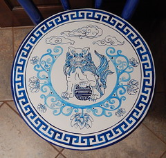 FOO Chair (Morganthorn) Tags: blue white asian foo lion dog paint flower vine clouds medallion