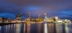 Oslo by night (Ajnaraja) Tags: opera hdr huset light architecture house oslo longexposure panorama landscape eos sky scandinavia sentral sea station water night norway