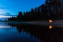 campfire on the shore of a lake (VisitLakeland) Tags: finland lakeland scenery lake night midnight nightless keskiyö keskikesä yötön yö campfire nuotio heijastus reflection shore beach ranta hiekkaranta