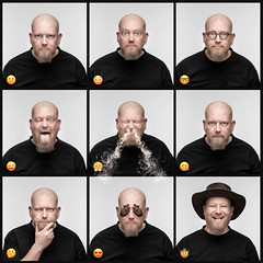 Lifelike Emojis (Tortured Mind) Tags: emotion heart square humour photoshop macabre frame godox camranger d800 headshot portrait digitalart emoji dslr funnyface manfrotto homestudio suomi 11 smiley nikon grid fi tokina prime macro selfportrait 100mmf28 studio kuopio