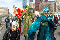 Earth, Wind, & Fire (Andy Marfia) Tags: chicago loop congresspkwy marchforscience mfschi earth wind fire stilts gasmask protest rally march d7100 1685mm 1640sec f63 iso100
