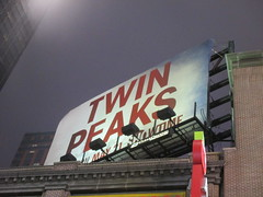 Twin Peaks Billboard Times Square 2017 Foggy Night NYC 4842 (Brechtbug) Tags: twin peaks the return billboard poster ad laura palmer sheryl lee fbi agent dale cooper kyle maclachlan mystery 90s show showtime type mysterious bird birds owl owls may 05212017 9pm 2017 nyc broadway 50th st near times square midtown manhattan street new york city streets 04272017 hazy fog foggy night nite