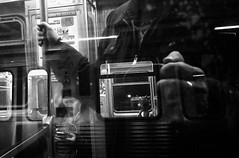Preside (draketoulouse) Tags: chicago loop train cta brownline people passenger night reflection street streetphotography blackandwhite monochrome city urban window surreal