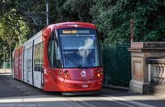 Sydney Light Rail - LRV2112 drifts down the Pitt Street ramp. (john cowper) Tags: sydneylightrail centralrailwaystation urbos3 caf lrv2112 transportfornsw trams lightrailvehicle lightrail railwaystation heritage newsouthwales