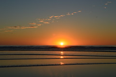 Early rise sunrise (colinhansen1967) Tags: sunrise sun sea beach waves water clouds glow reflect reflections misty christchurch spencerpark newzealand ngc
