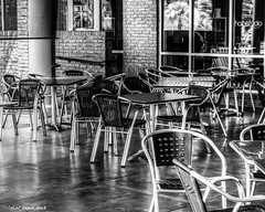 Where's All the Customers? It's Lunchtime! (that_damn_duck) Tags: blackandwhite chairs restaurant emptyseats bw blackwhite