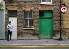 Twenty is Plenty (cybertect) Tags: ec1 london londonboroughofislington londonec1 olympuszuikoom3570mmf4 rawstornestreet sonya7 door mobilephone sign speedlimit vape wall window yellowline
