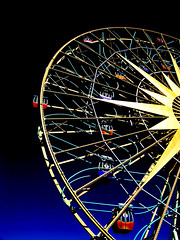 Like a Star in the Night Sky (Steve Taylor (Photography)) Tags: design digital art black blue colourful yellow mauve curve lines star ring perspective sky anaheim california disneyland unitedstates usa paradisepier mickeysfunwheel ferriswheel
