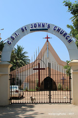 Entrance & Gate of St. John's Church - Pondicherry India (WanderingPhotosPJB) Tags: india pondicherry puducherry unionterritory french gates stjohnschurch