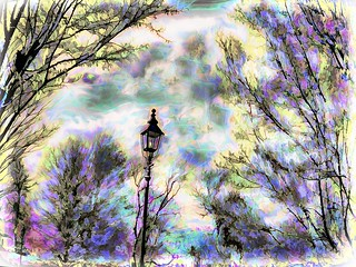 Lamp Post and Trees in the Spring