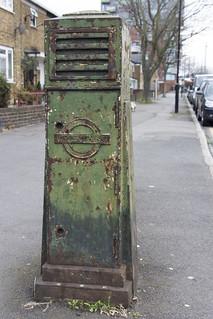 Trolleybus feeder pillar, Wilmer Lea Close, E15