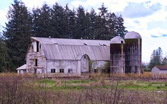Better Days (robinlamb1) Tags: barns landscape outdoor barn silo trees field shed clouds disrepair