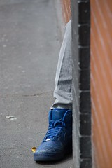Sanctuary (RaminN) Tags: sanctuary alcove sidewalk photography street colors complimentary orange brick blue shoe