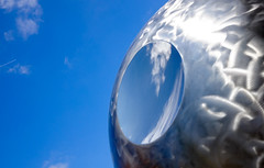 Planet Earth (PaulHoo) Tags: fujifilm x70 fuji urban zeist city holland netherlands reflection statue art sky clouds silver crater planet earth 2017