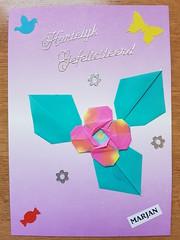 Bloementje 1 (Marjan 8) Tags: card paper origami paperfolding bloem flower punch stickers