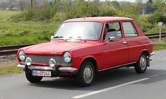 Red Simca (Schwanzus_Longus) Tags: spotted spotting carspotting german germany car vehicle bruchhausen vilsen french france compact hatchback red simca 1110