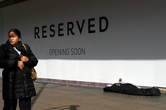 Reserved - May 2017 (stevedexteruk) Tags: homeless poverty london sleeping sleaping oxfordstreet uk city westminster 2017 bhs britishhomestores shop pavement reserved openingsoon